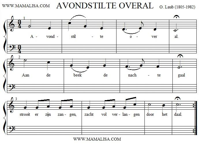 Partition musicale - Avondstilte overal