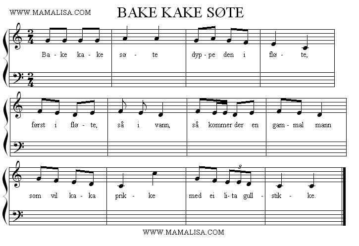 Sheet Music - Bake kake søte