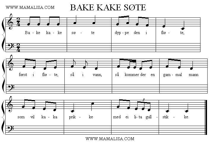 Partitura - Bake kake søte