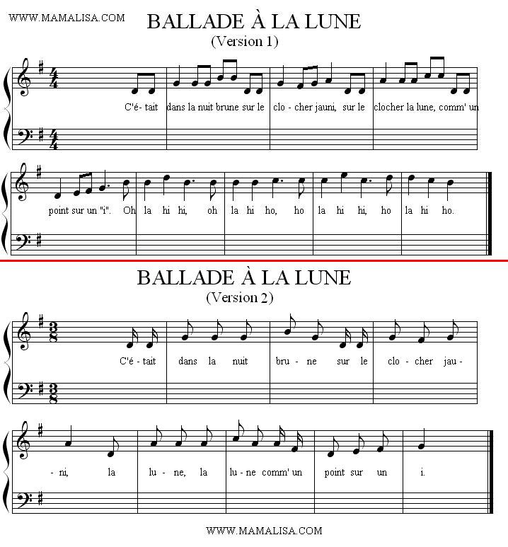 Sheet Music - Ballade à la lune