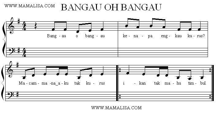 Partition musicale - Bangau Oh Bangau