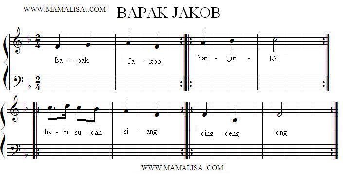 Partition musicale - Bapak Jakob