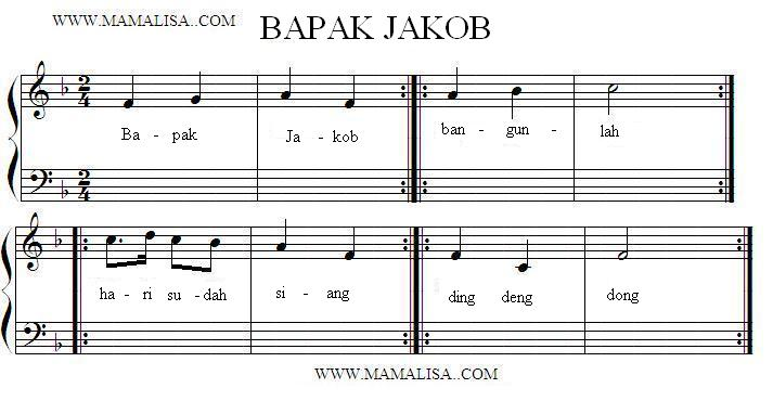 Sheet Music - Bapak Jakob