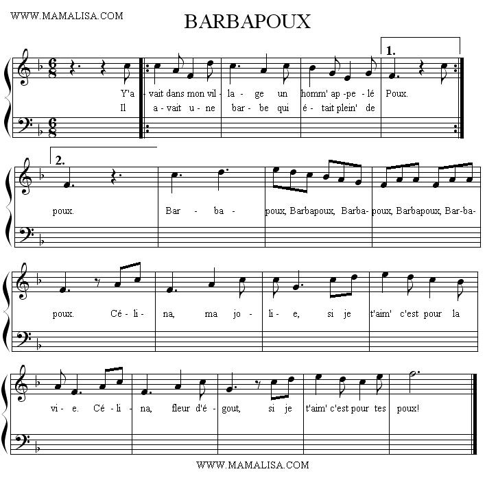 Partition musicale - Barbapoux