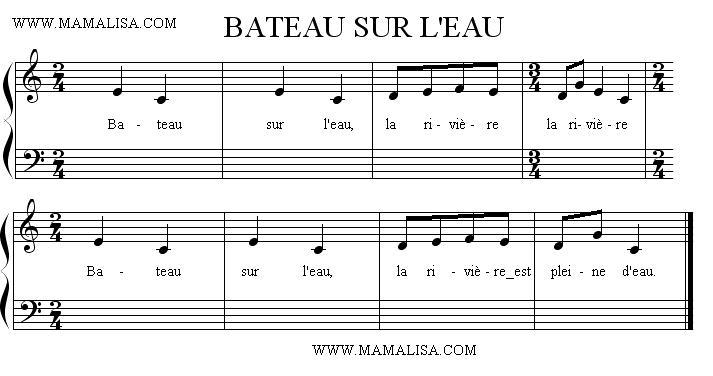 Sheet Music - Bateau sur l'eau