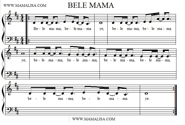 Partition musicale - Bele Mama