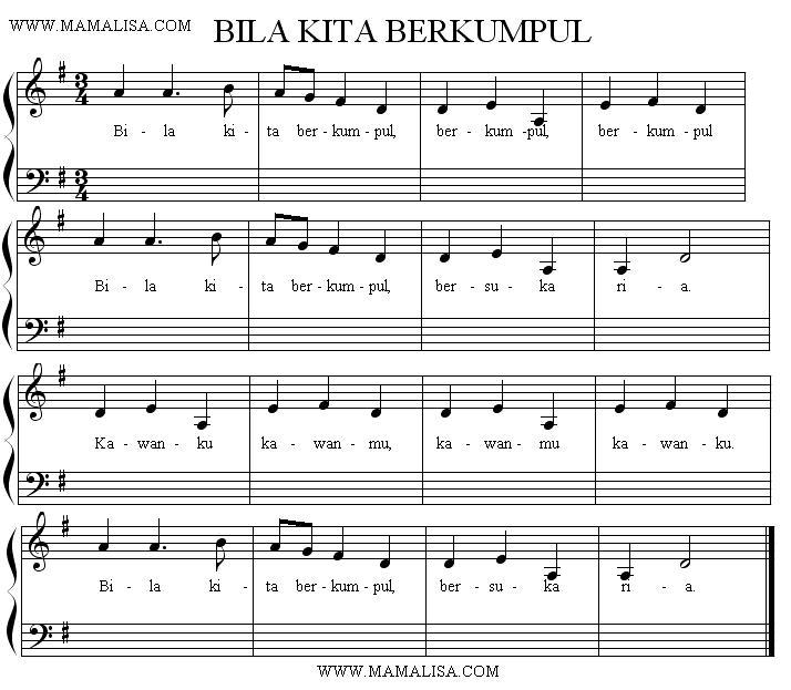 Partition musicale - Bila kita berkumpul