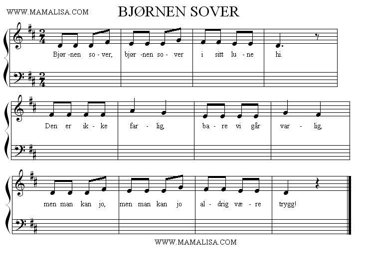 Partition musicale - Bjørnen sover