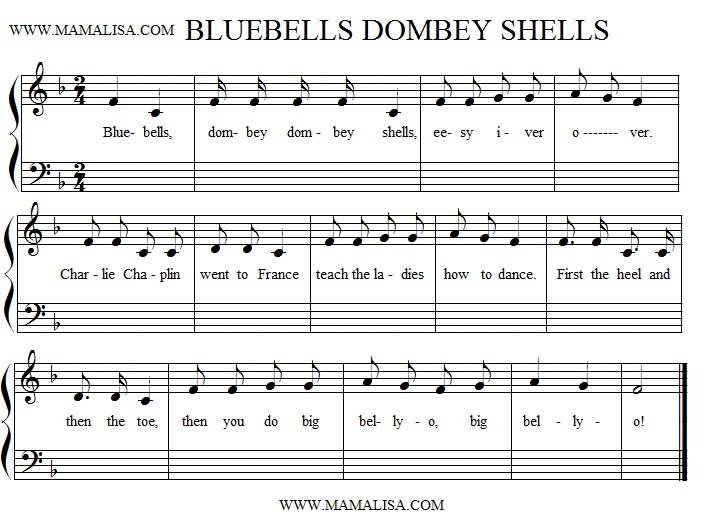 Sheet Music - Bluebells, Dombey Shells