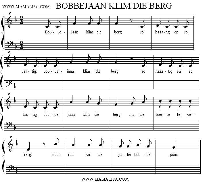 Sheet Music - Bobbejaan