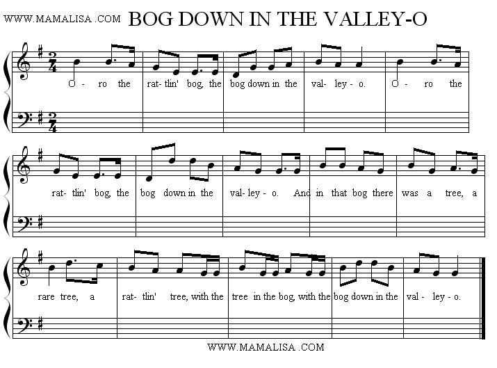 Sheet Music - Bog Down in The Valley-O