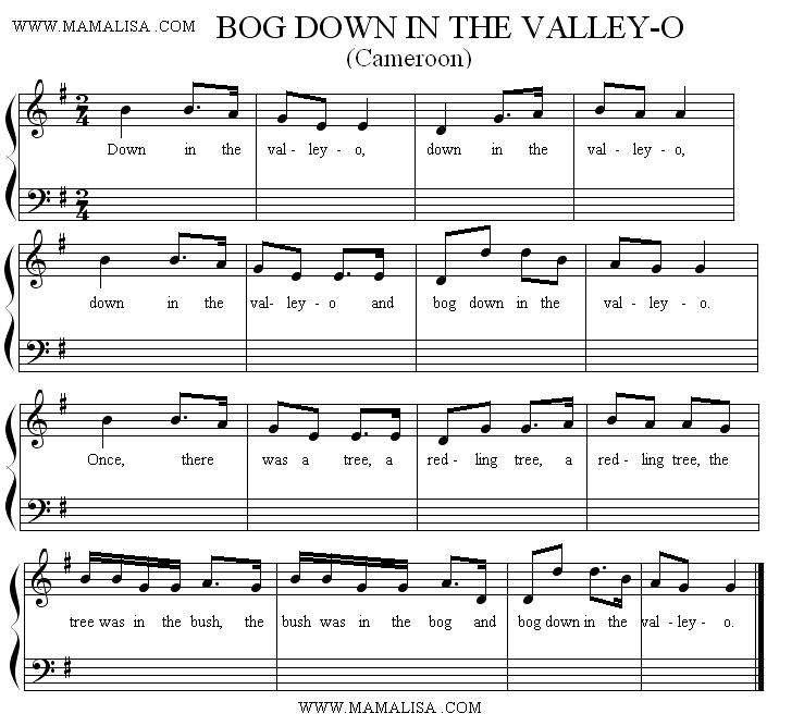 Sheet Music - Bog Down in the Valley - (Cameroonian Version)