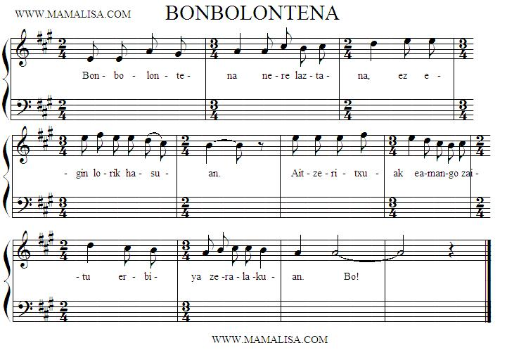 Sheet Music - Bonbolontena