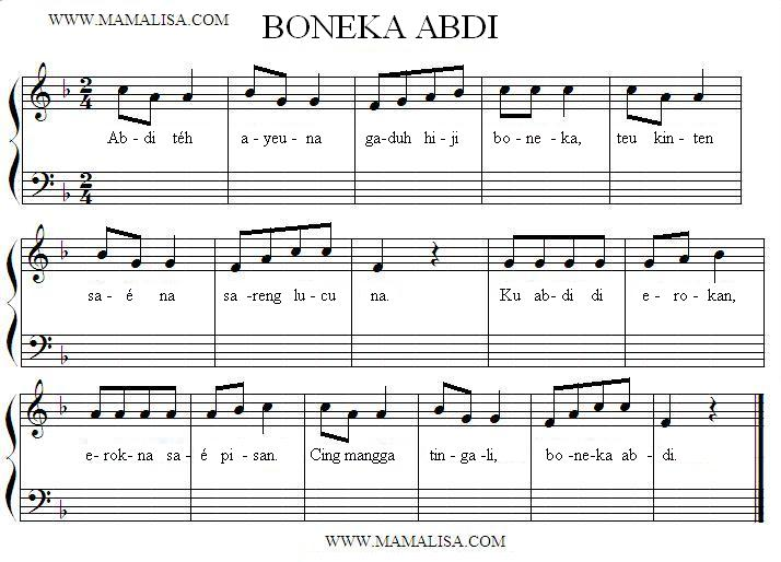 Sheet Music - Boneka Abdi