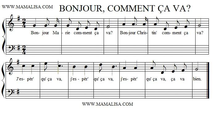 Sheet Music - Bonjour! Comment ça va?
