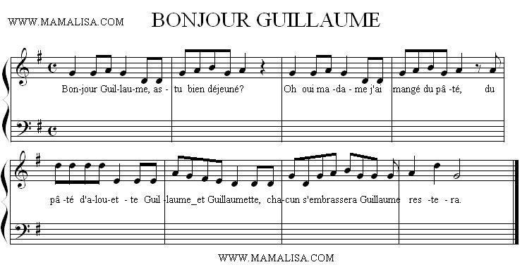Sheet Music - Bonjour Guillaume
