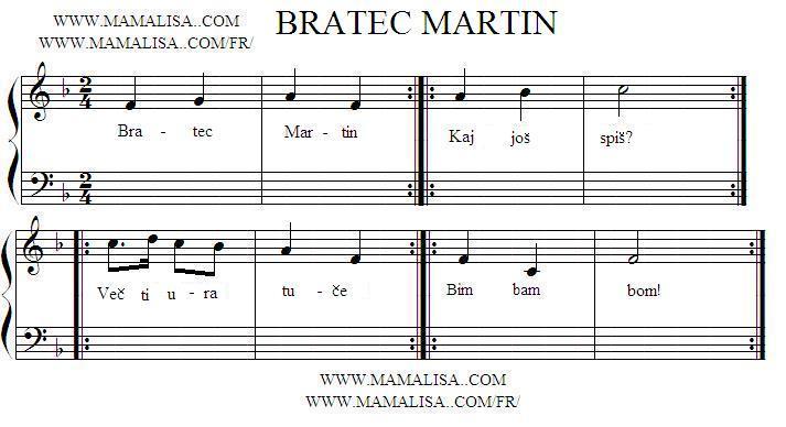 Partition musicale - Bratec Martin