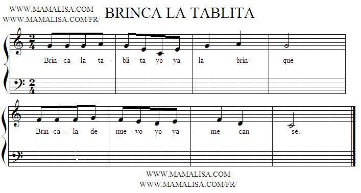 Sheet Music - Brinca la tablita