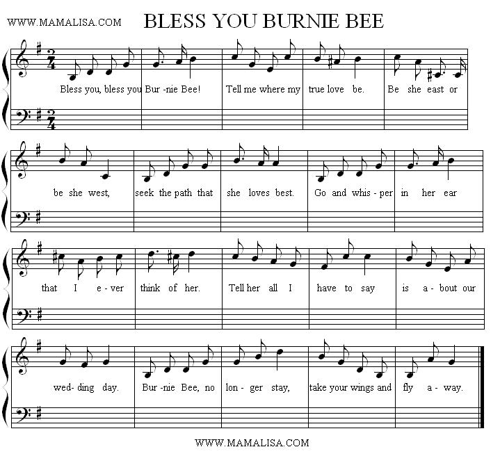 Sheet Music - Burnie Bee, Burnie Bee