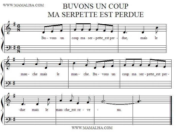 Sheet Music - Buvons un coup ma serpette est perdue