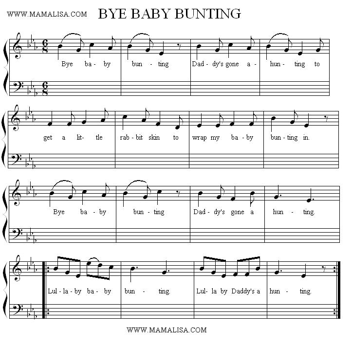 Sheet Music - Bye, Baby Bunting