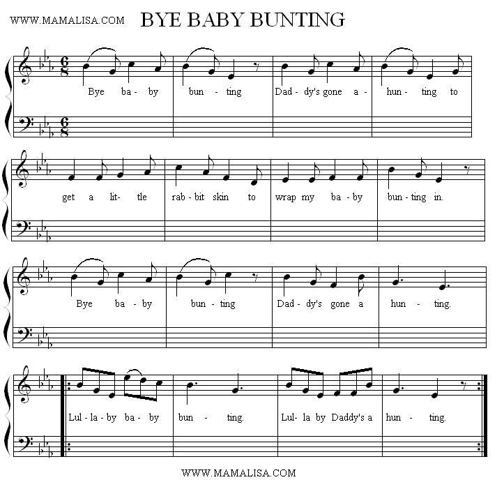 Sheet Music - Bye, Baby Bunting