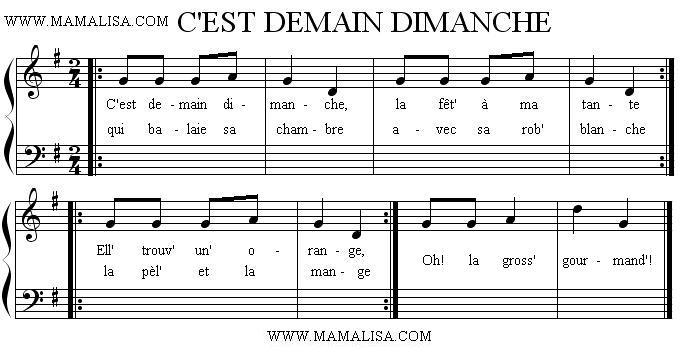 Sheet Music - C'est demain dimanche