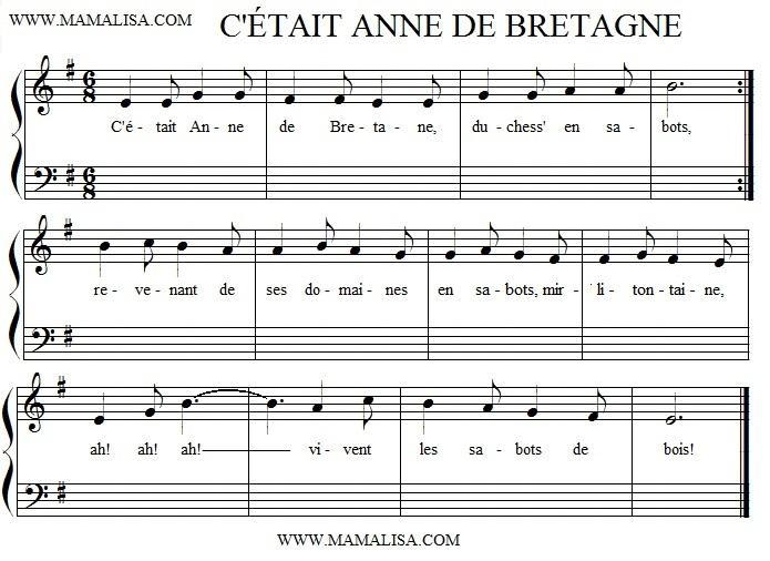 Sheet Music - C'était Anne de Bretagne