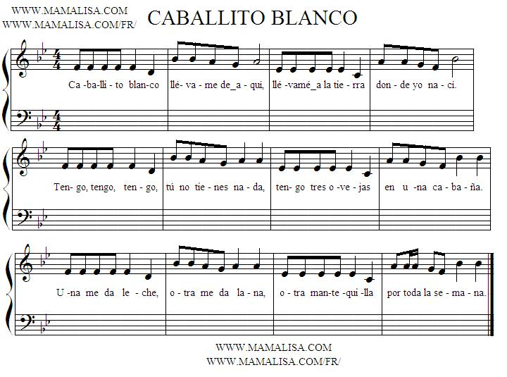 Sheet Music - Caballito blanco