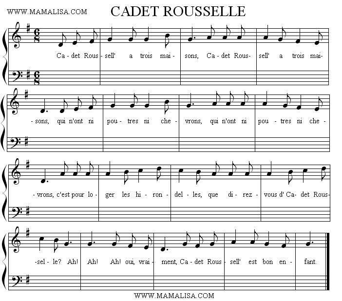 Partition musicale - Cadet Rousselle