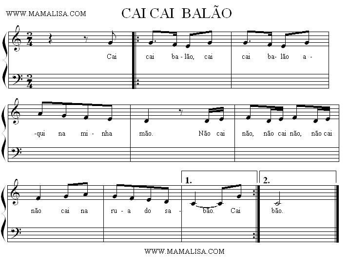 Sheet Music - Cai, cai balão
