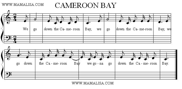 Sheet Music - We Go Down the Cameroon Bay