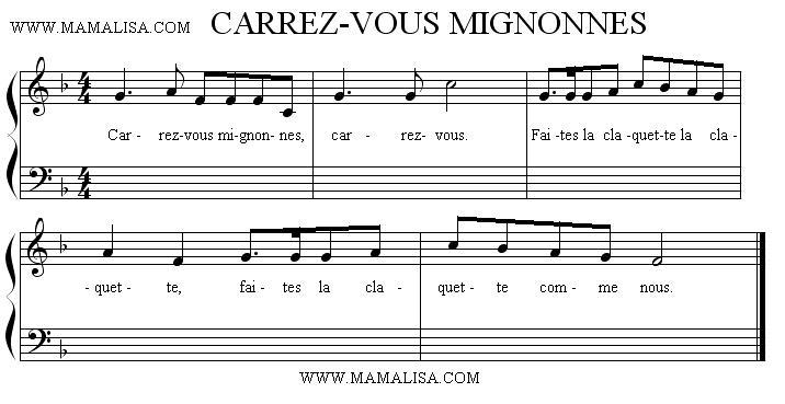 Partition musicale - Carrez-vous mignonne