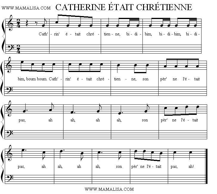 Partition musicale - Catherine était chrétienne