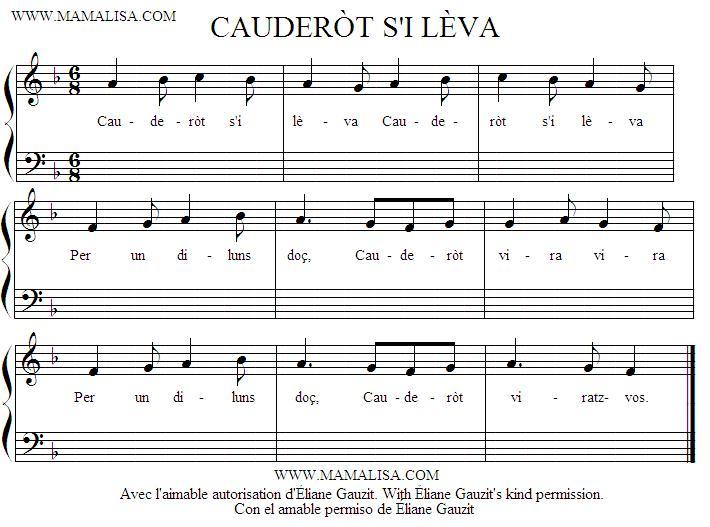 Partition musicale - Cauderòt s'i lèva