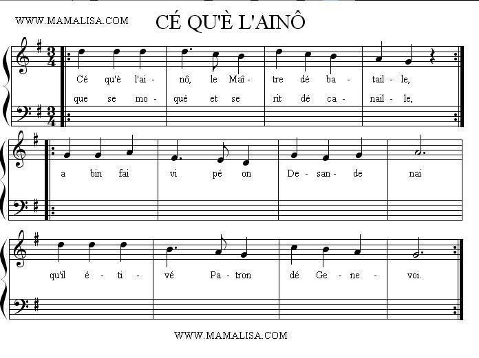 Partition musicale - Cé qu'è lainô