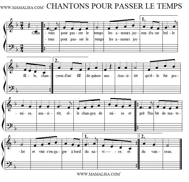 Partition musicale - Chantons pour passer le temps