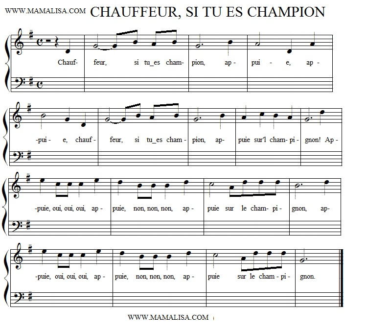 Sheet Music - Chauffeur, si tu es champion