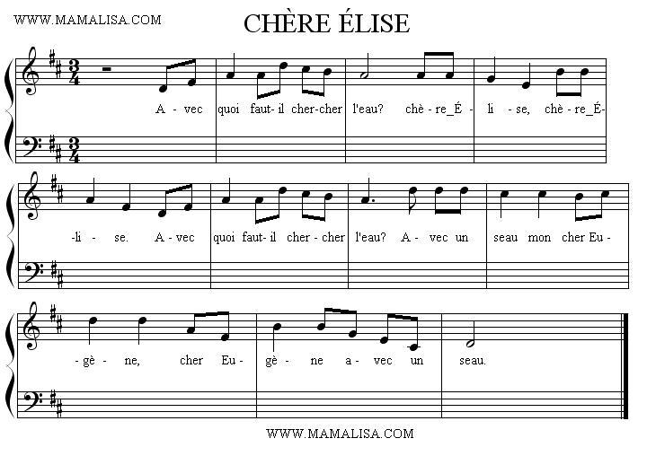 Partition musicale - Chère Élise