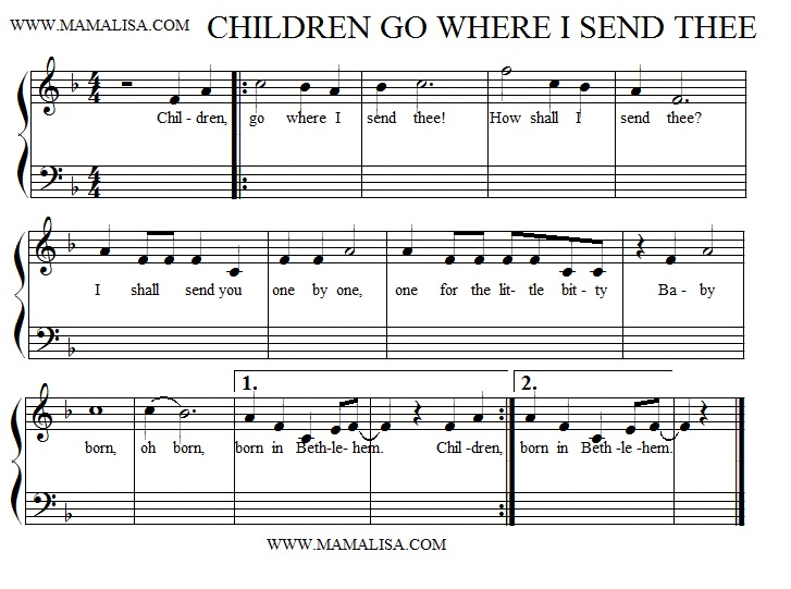 Partition musicale - Children, Go Where I Send Thee - (Short Version)