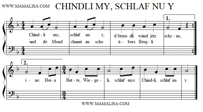 Sheet Music - Chindli my, schlaf nur y