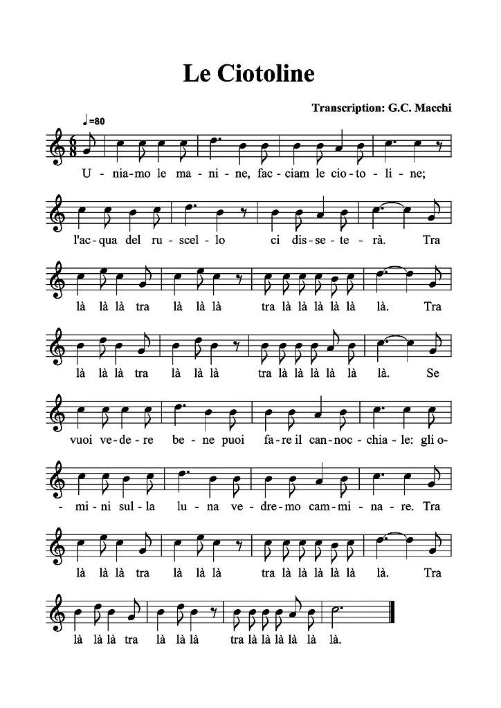 Partition musicale - Le ciotoline