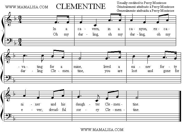 Partition musicale - Oh My Darling, Clementine