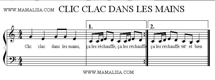 Partition musicale - Clic, clac, dans les mains