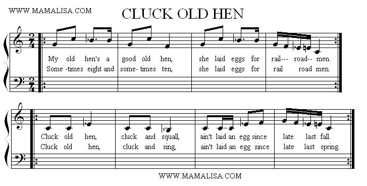Sheet Music - Cluck Old Hen
