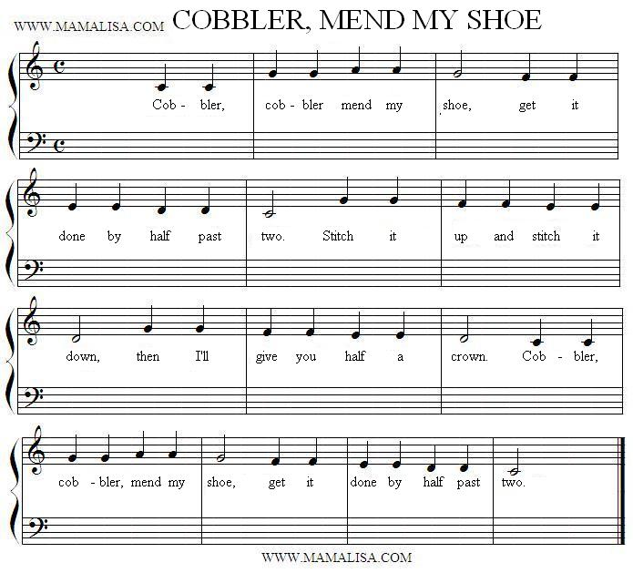 Sheet Music - Cobbler, Cobbler