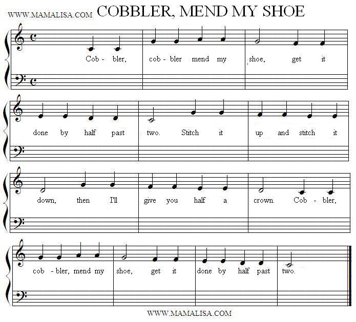 Sheet Music - Cobbler, Cobbler