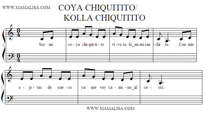 Sheet Music - Coya chiquitito
