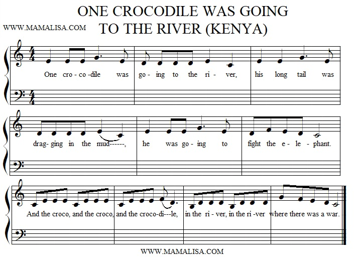 Sheet Music - One Crocodile was Going to The River