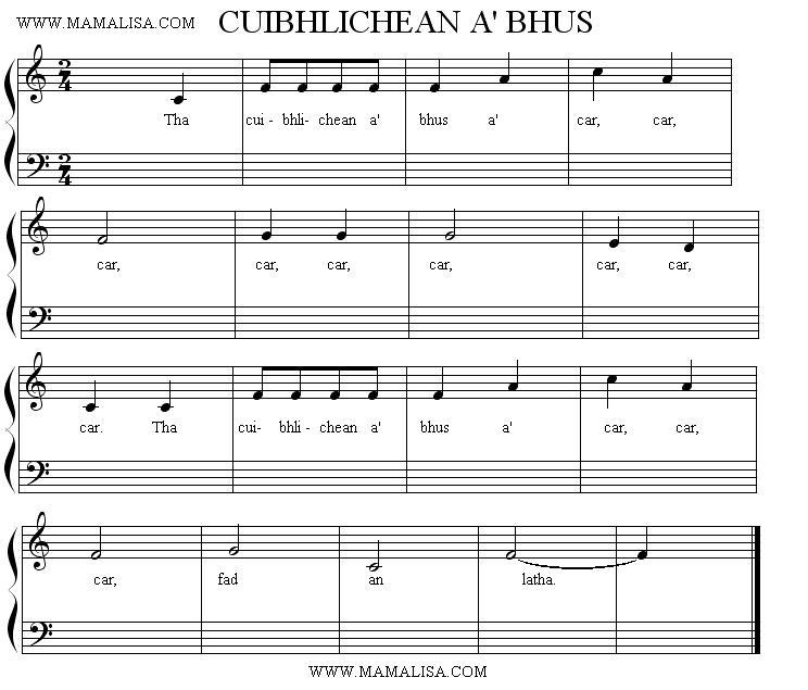 Sheet Music - Cuibhlichean a' bhus